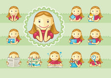 Iconos de muchachas lindas libre illustration