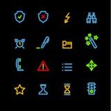 Iconos de neón de la administración Ilustración del Vector
