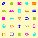 Iconos de neón de los datos personales con la sombra ilustración del vector