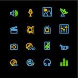 Iconos de neón de los media Ilustración del Vector
