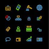 Iconos de neón del asunto Stock de ilustración