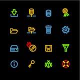 Iconos de neón del servidor Stock de ilustración