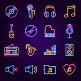 Iconos de neón de la música libre illustration