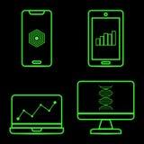 Iconos de neón verdes de la tecnología en fondo negro libre illustration
