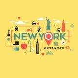 Iconos de New York City y diseño de la tipografía ilustración del vector
