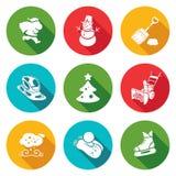Iconos de Noche Vieja y de la Navidad fijados Ilustración del vector Foto de archivo