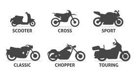 Iconos de Objects del tipo y del modelo de la motocicleta fijados Imagenes de archivo
