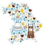 Iconos de Oktoberfest que forman la silueta del azul de Baviera ilustración del vector