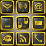 Iconos de oro del teléfono móvil. Imágenes de archivo libres de regalías