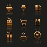 Iconos de oro del web fijados stock de ilustración