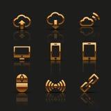 Iconos de oro del web fijados ilustración del vector