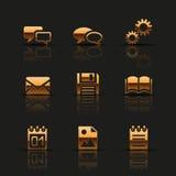 Iconos de oro del web fijados Foto de archivo