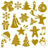Iconos de oro de la Navidad aislados en el fondo blanco Ilustración del vector Foto de archivo libre de regalías