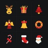 Iconos de oro planos de la Navidad Fotografía de archivo libre de regalías