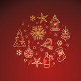 Iconos de oro planos de la Navidad en fondo rojo Imágenes de archivo libres de regalías