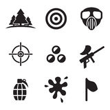 Iconos de Paintball ilustración del vector