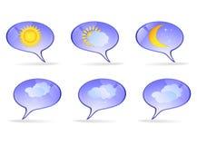 Iconos de papel con la imagen del tiempo Imagen de archivo libre de regalías