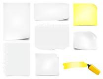 Iconos de papel de las notas de la oficina fijados ilustración del vector
