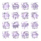 Iconos de papel Iconos de documento Fije de los iconos con diversos iconos del documento y de papel para los sitios, apps, progra stock de ilustración