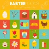 Iconos de pascua de la celebración Objetos diseñados planos fijados Conejo, pájaros, huevos, flores y otros símbolos de la primav Foto de archivo