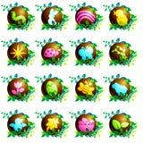 Iconos de pascua del chocolate stock de ilustración