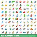 100 iconos de planificación fijados, estilo isométrico 3d Fotos de archivo libres de regalías