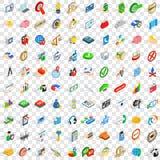 100 iconos de planificación fijados, estilo isométrico 3d Fotografía de archivo libre de regalías