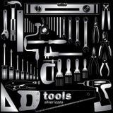 Iconos de plata de las herramientas Foto de archivo