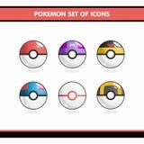 Iconos de Pokemon fijados Imágenes de archivo libres de regalías