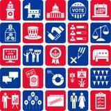 Iconos de políticas y de elecciones americanas Imágenes de archivo libres de regalías