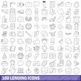 100 iconos de préstamos fijados, estilo del esquema Fotografía de archivo