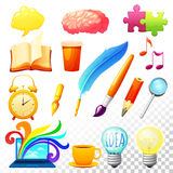 Iconos de proceso creativos fijados ilustración del vector