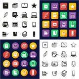 Iconos de publicación todos del libro en los iconos uno negros y el diseño plano del color blanco fijado a pulso ilustración del vector