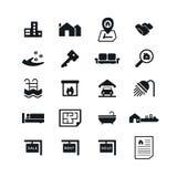 Iconos de Real Estate en el fondo blanco Ilustración del vector Imagenes de archivo