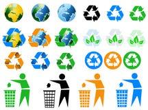 Iconos de reciclaje ambientales Imagen de archivo libre de regalías