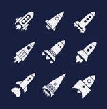 Iconos de Rocket fijados Foto de archivo libre de regalías
