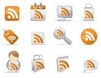 Iconos de RSS Imágenes de archivo libres de regalías
