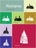 Iconos de Rumania ilustración del vector