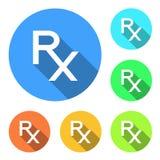 Iconos de Rx Rx firma adentro diversos colores en el fondo blanco Rx - símbolo de la prescripción Medicina y farmacia Diseño plan Fotos de archivo libres de regalías