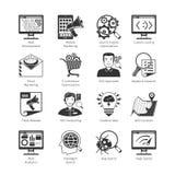 Iconos de SEO And Web Development Black Imágenes de archivo libres de regalías