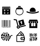 Iconos de Shiopping fijados Fotografía de archivo libre de regalías