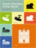 Iconos de siete maravillas del mundo Fotos de archivo
