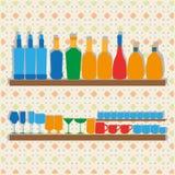 Iconos de siluetas de Bootles, de vidrios y de tazas Foto de archivo libre de regalías