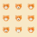 Iconos de Smiley Cat Faces Fotos de archivo