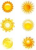 Iconos de Sun Imagen de archivo libre de regalías