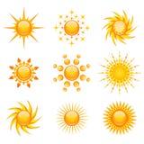 Iconos de Sun Foto de archivo libre de regalías