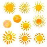 Iconos de Sun Fotografía de archivo libre de regalías