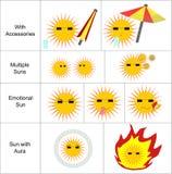 Iconos de Sun fijados Fotografía de archivo