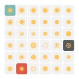 Iconos de Sun fijados Imagen de archivo libre de regalías