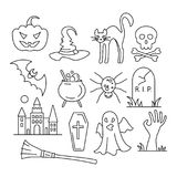 Iconos de Víspera de Todos los Santos Ejemplo del vector en estilo plano Imagen de archivo